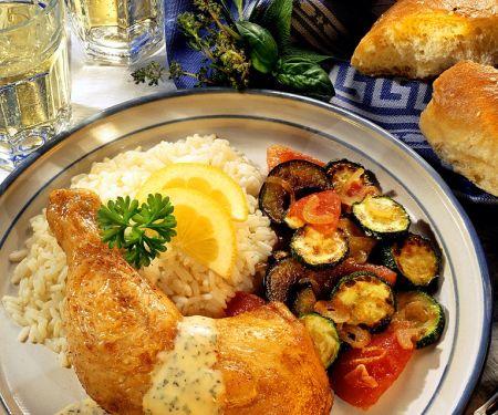 Hähnchenkeulen mit Kräutersauce und Gemüse