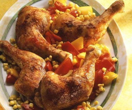 Hähnchenkeulen mit Mais und Paprika