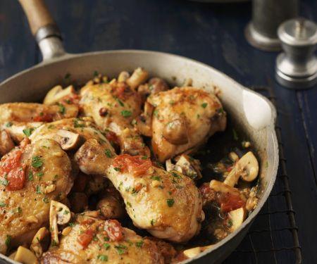 Hähnchenpfanne mit Tomaten und Champignons