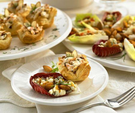 Häppchen aus Blätterteig mit Nüssen und Salat