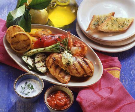 Hühnchenbrust, Shrimps, Gemüse und Weißbrot