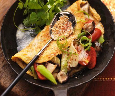 Indisches Omelett mit Gemüsefüllung