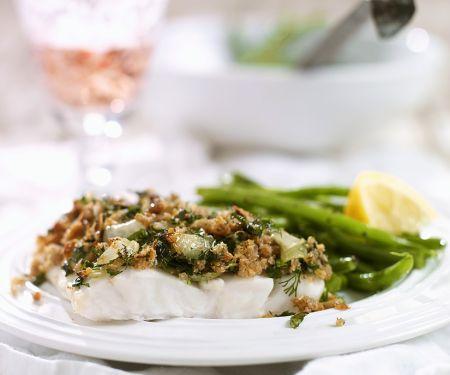 Kabeljau mit Kräuterkruste und grünen Bohnen