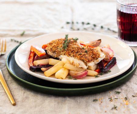 Kabeljau mit Senf-Mandel-Kruste und Ofengemüse