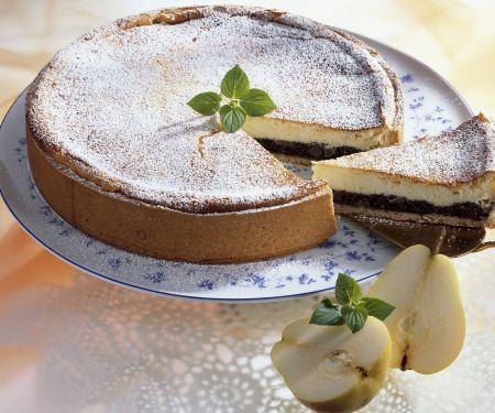 Käse-Mohn-Kuchen mit Birnen