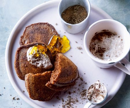 Kakao-Bananen-Pancakes mit Schoko-Joghurt