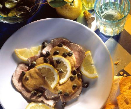 Kalbfleisch-Bratenscheiben mit Thunfischcreme