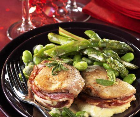 Kalbsfilet mit Mozzarella und Pancetta gefüllt