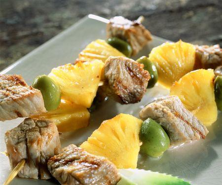 Kalbsspieße mit Ananas vom Grill