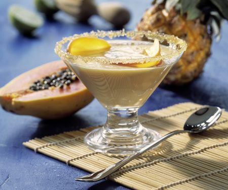 Karamellcreme mit exotischen Früchten