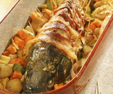 Karpfen im Speckmantel mit Portwein-Soße