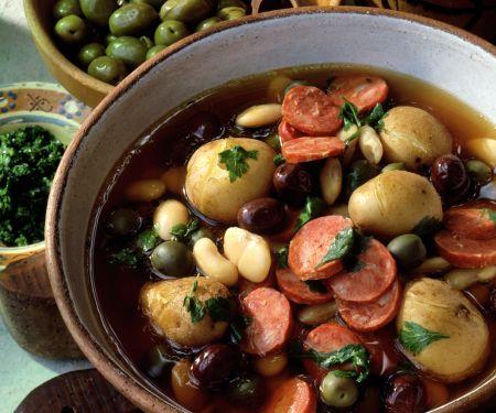 Kartoffel-Bohnen-Eintopf mit Oliven