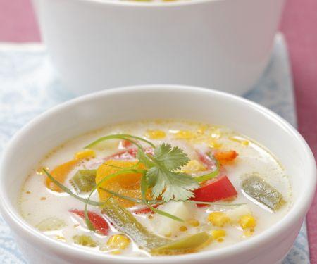 Kartoffel-Mais-Suppe mit Paprika