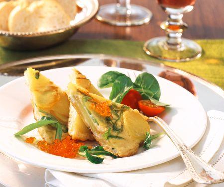 Kartoffel-Omelett mit Kaviar