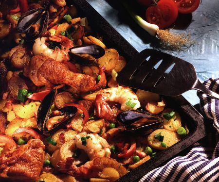 Kartoffel-Paella vom Blech