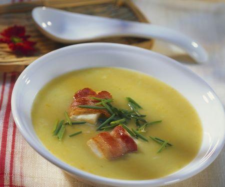 Kartoffel-Porree-Suppe mit Speck
