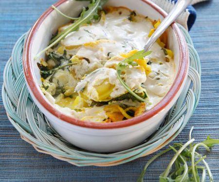 Kartoffelgratin mit Rucola und Mandeln (Vegan)