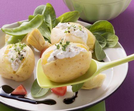 Kartoffeln mit Cottage Cheese und Rapunzelsalat
