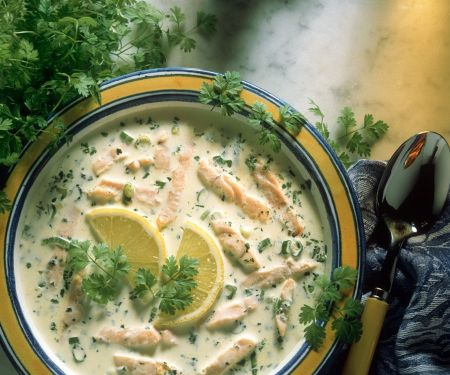 Kerbelcremesuppe mit Lachs