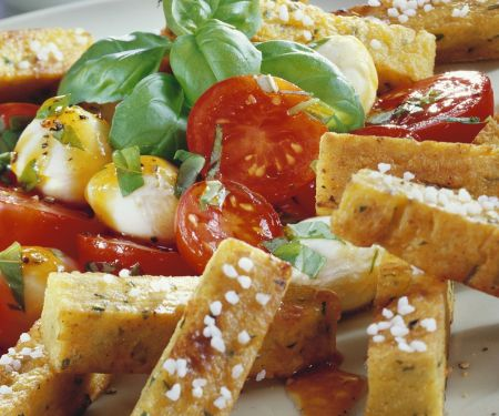 Kichererbsen-Pommes mit Tomate-Mozzarella
