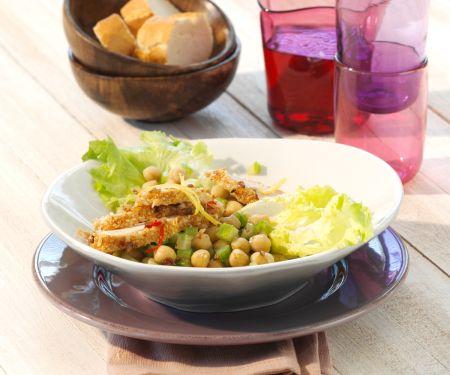 Kichererbsensalat mit Sesam-Hähnchenbrust