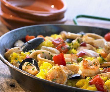 Klassische Meeresfrüchte-Paella