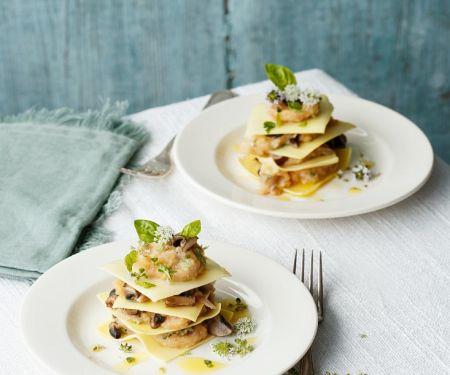Kleine offene Pilz-Lasagne