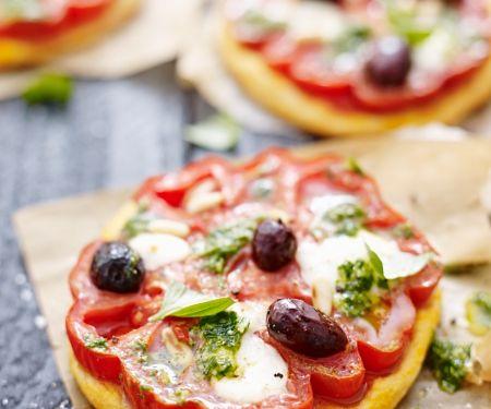 Kleine Tomaten-Pizzen
