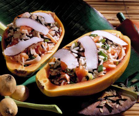 Kokosreis in Papaya