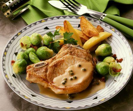 Kotelett mit grüner Pfeffersauce