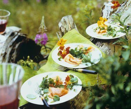Kressesalat mit Lachs