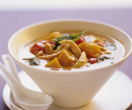 Kürbis-Hühnchen-Suppe auf Thai-Art