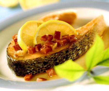Lachs aus Asturien mit Schinkenwürfeln