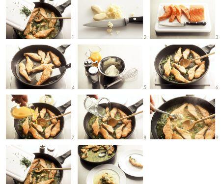 Lachsfilets mit Orangen-Wasabi-Soße