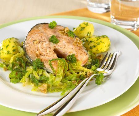 Lachssteak mit Gemüse
