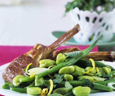 Lammkotelett mit Bohnensalat und Limettenvinaigrette