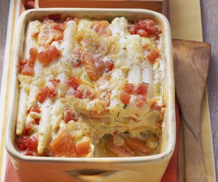 Lasagne mit Spargel, Lachs und Tomaten