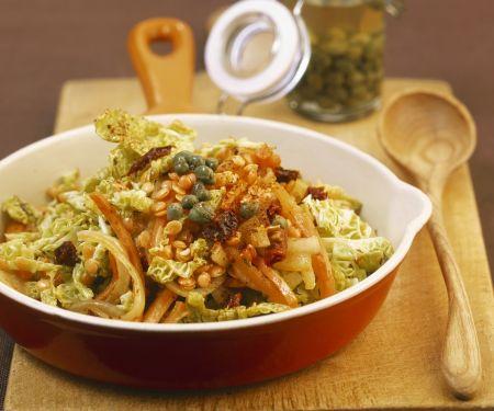 Linsen-Gemüse-Pfanne und Kapern