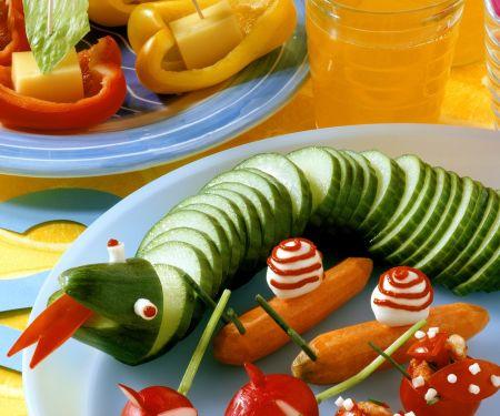 Lustige Gemüserohkost