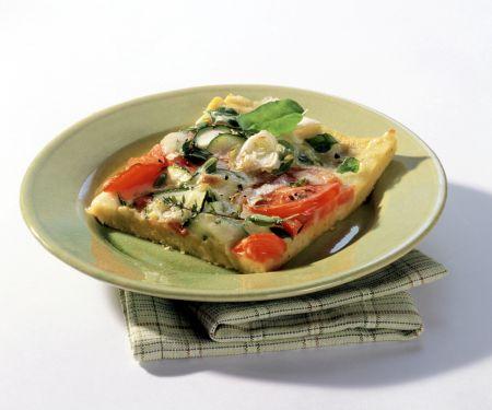 Maisgrießpizza mit Tomaten