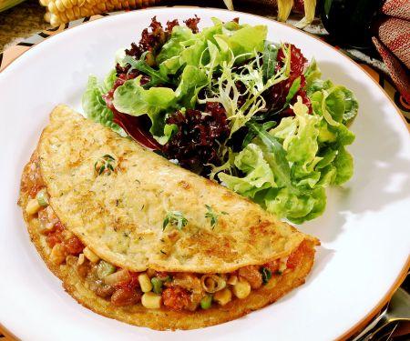 Maispfannkuchen mit Lamm-Gemüse-Füllung und Salat