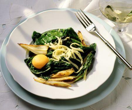 Mangold-Fenchel-Gemüse mit Ei