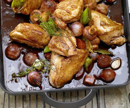 Geschmortes Hähnchen in Rotwein