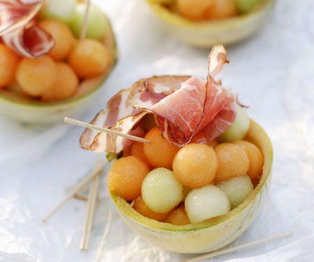 Melonenkugeln mit Schinken