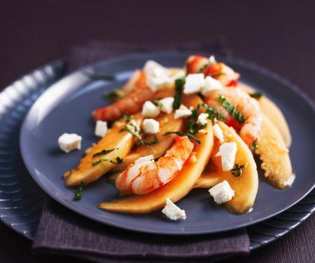 Melonensalat mit Shrimps