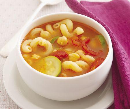 Nudel-Tomaten-Suppe mit Kichererbsen