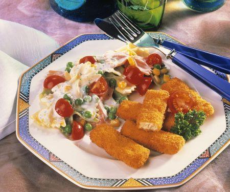 Nudelsalat mit Chicken Nuggets