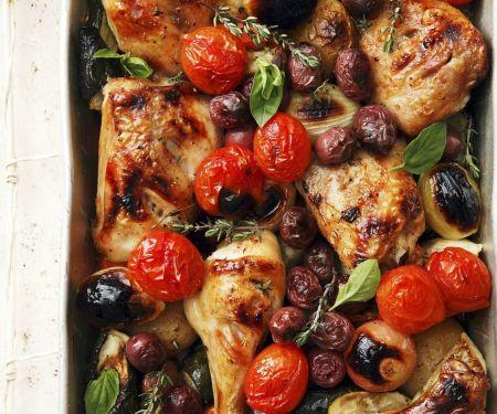 Ofen-Hähnchen mit Gemüse