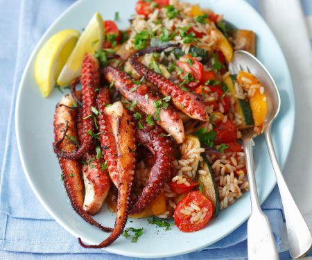 Oktopus mit Reis und Gemüse