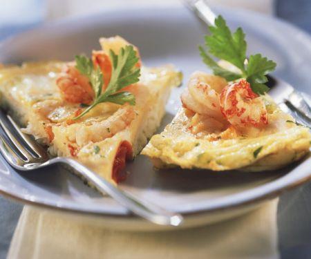Omelett mit Fisch und Meeresfrüchten